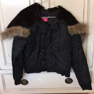 Down Juicy Couture Jacket with Fur Lined Hood